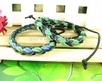 Wholesale punk style  bracelet  handmade , braided cotton & leather bracelet FREE SHIPPING