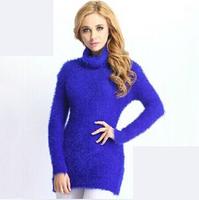 2014 Winter New Fashion Sweater Women Casual Slim Multicolors Turtleneck Long Sweaters Pullover Tricotado Female