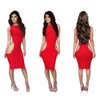 2015 new  women yellow clothing  bandage Sleeveless dresses hot sale   free shipping KM033