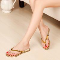 2015 simple design women's summer  sequined slippers hot sale round toe summer footwear slides
