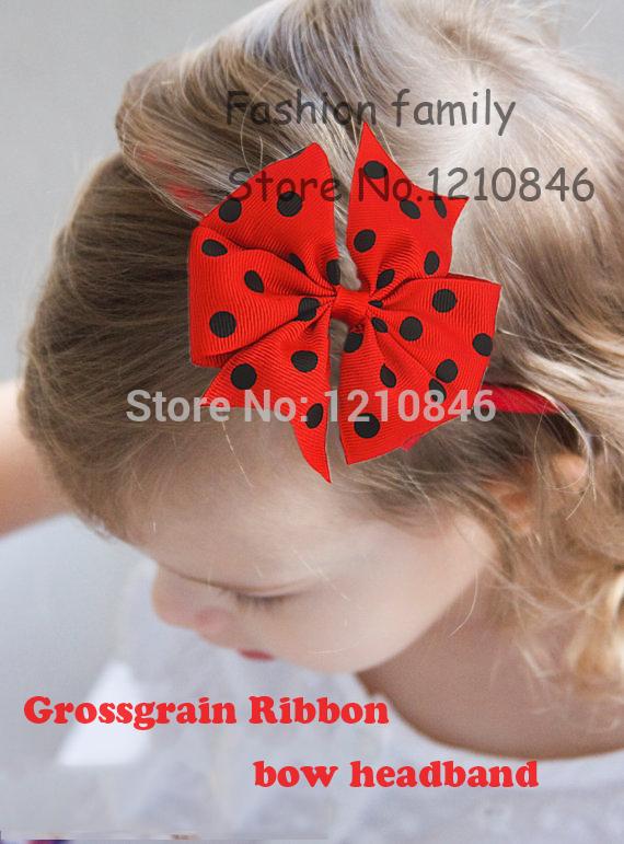 2015 girl polka dots ribbon bows headband thin elastic baby infant grosgrain ribbon bows hairband for princess hair Accessories(China (Mainland))