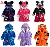 Baby bathrobe Children pajamas Boys cartoon hoodie girl velvet bath robe kids towel Infant baby clothing child flannel robeAB651