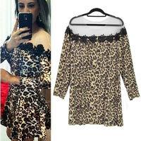 2014 Woman Sexy Fashion New Summer Women Leopard Print Black Lace Patchwork Dress Party Vestidos Ladies Dresses Drop Shipping