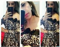US Size 4 - 14 Sexy Mesh Leopard Lace Dress Bodycon Cocktail Nightclub Clubwear Dresses