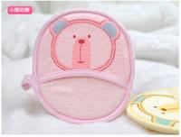Cotton Soft Newborn Bath Towel Brush Glove Cute Cartoon Baby Bath Foam Rub Shower Sponge Free Shipping