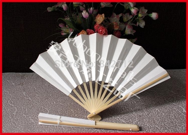 10pcs/lot Simple White Paper With No Printing Bamboo Chopsticks Fan Japanese Style Bamboo Bats Folding Hand Fan(China (Mainland))