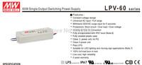 DC power supply 60W Meanwell LPV-60  12V 15V  24V 36V 48V  IP67 CE CUL  Fedex DHL free Mean well LED power supply