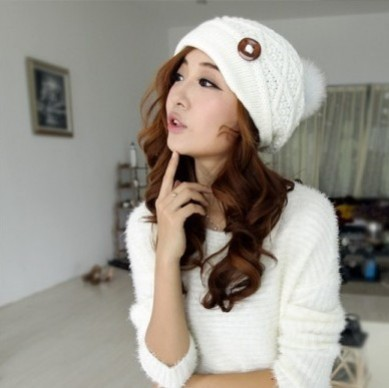 2015 Women's Candy Beanie Knitted Caps Crochet Hats Rabbit Fur Pompons Curling Ear Protect Winter Cute Casual Cap Women Beanies(China (Mainland))