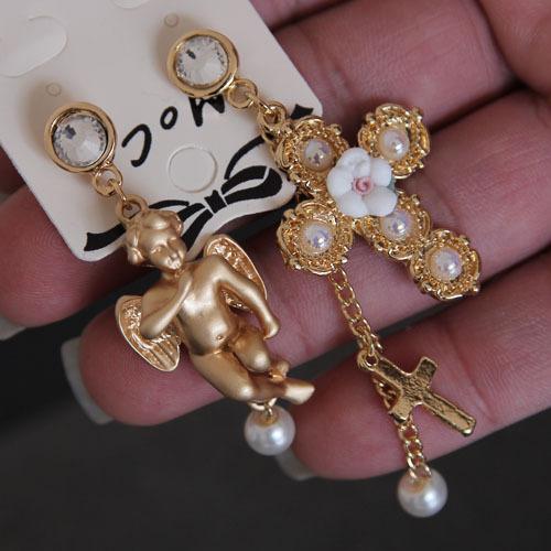 Free Shopping Baroque Cross Cupid flower earrings female irregular earrings