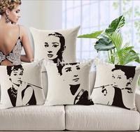 45*45cm Linen Cotton Cushion Cover Audrey Hepburn Famous Movie Star Cushion Car Chair Sofa Pillow Case Cover Home Decorative