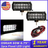 2PCS 60W OSRAM LED Work Light Bar Flood Beam DC12V/24V Car Trucks 4WD SUV ATV 4x4 Offroad Driving Lamp+Wiring Harness Kit