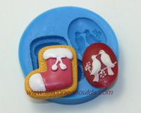 1Pcs Peace dove,Christmas shoe round  silicone mold Cake decoration tool cake mould