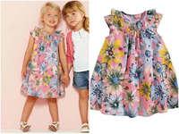 Wholesale 6pcs/lot Girls Dress 100% cotton 2015 summer flower baby dress Bohemian style girl print princess dress child dress