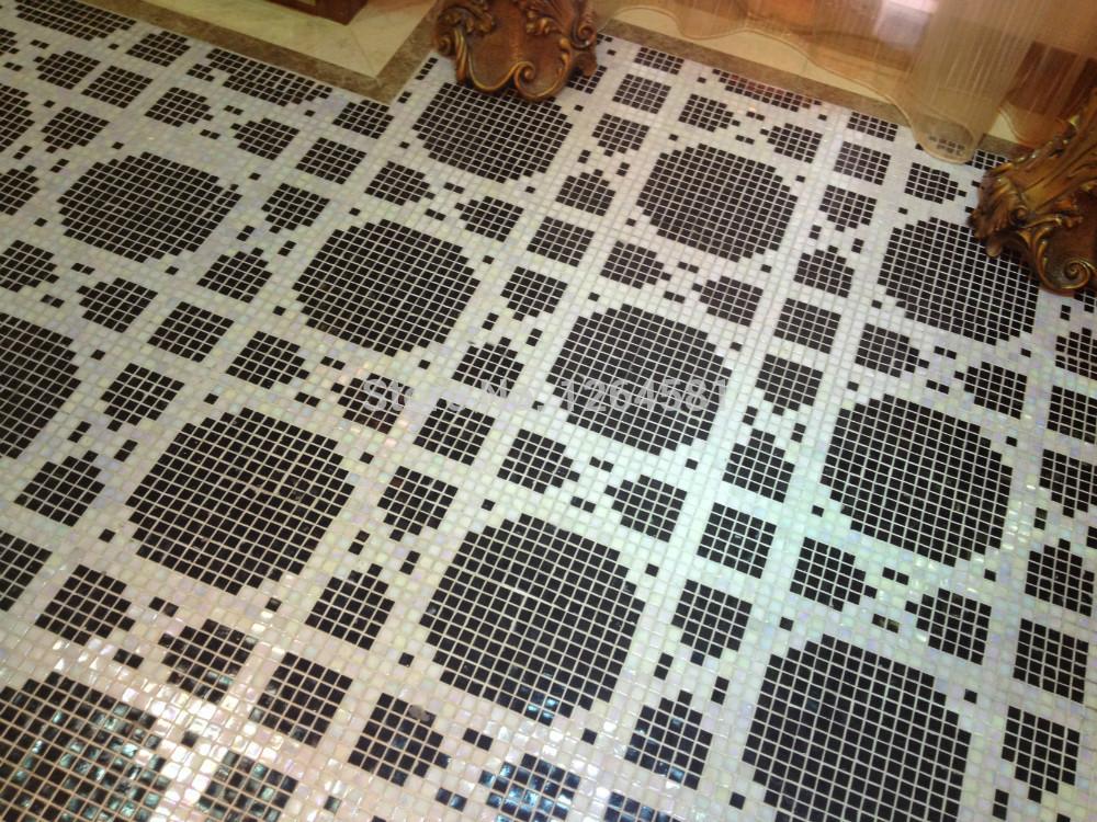 Taupe Tegels Badkamer ~ Badkamer Tegels Glas  Black White Mosaic Bathroom Floor Tiles