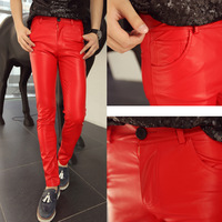 Male sistance costume HARAJUKU gd leather pants tight trousers men's clothing