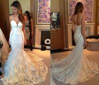 Real Photo High Quality Mermaid Wedding Dress Sweetheart Sleeveless Floor Length Court Train Lace Backless Wedding Dresses
