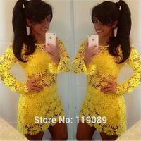 2015 New Fashion Sexy Club Women Lace Crochet Dresses Floral Yellow Vestidos Party Bodycon Mini Flower Feminino Casual HBQ110