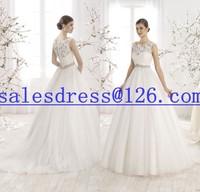Vestido de noiva 2015 A-Line Lace and Tulle Wedding Dresses Illusion Neck vintage wedding dress 2015 casamento