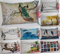 30*50cm Lumbar pillow Cotton Linen Cute Pastoral Pillow Cover Ikea Nap Pillow Creative Office Lumbar Pad Cushion Covers A275