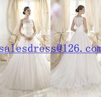 Vestido de noiva 2015 A-Line See Through Back Fancy Wedding Dress Lace and Tulle Romantic casamento 2015 cheap wedding dress