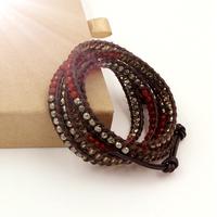 VIKIKO wrap bracelets Brown leather cord bracelet naturalOnyx pyrite stone free shipping VK0015