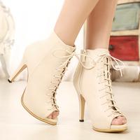 2015 New Arrival Women Peep Toe Ankle Boots High Heels Pumps Platform Lace Shoes Nude Bottoms