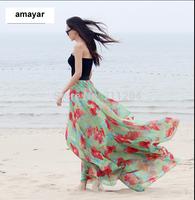 NEW WOMEN FLOWER  FULL SWEEP MAXI DOUBLE LAYERED-CHIFFON-SKIRT BIG HEM DRESSES