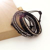 VIKIKO wrap bracelets black leather cord bracelet Four-color mixed crystal free shipping VK0008