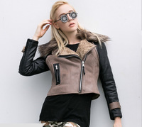 new winter brown lambs wool PU leather stitching women's brief paragraph jacket European and American heavy hair coat