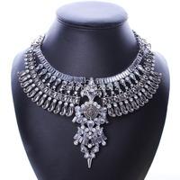 Luxury brand punk crystal drop big pendants choker necklace rhinestone flower leaves spike chunky statement necklace jewelry