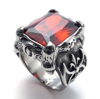 Jewerly Men's Titanium 316L Stainless Steel Party Dragon Claw Ruby CZ Biker Punk Ring M074028