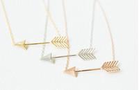Wholesale 10pcs/lot-2015 Gold/Silver/Rose Gold Fine Jewelry Metalwork Vintage Tiny Arrow Pendant Punk Necklace
