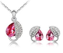 Austrian crystals necklace earring set for wedding party engagement love leaf jewelry set bijoux bijuterias wholesale