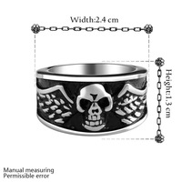 2015 Fashion Jewelry Stainless Steel Ring For Man Big Tripple Skull Ring Punk Biker Jewelry Free Shipping MAYAR013