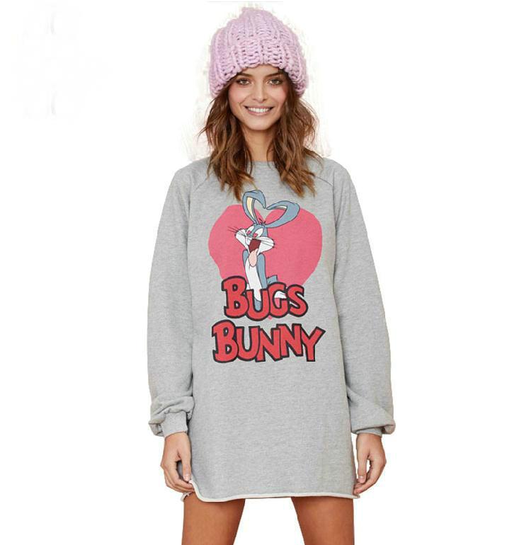 2015 new fashion cartoon BUGS BUNNY printed women casual sweatshirts grey long female long sweatshirt tops XS-XXL()
