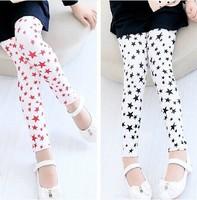 2015 New  Spring  Summer Autumn Baby Girls Pentagram Printed Leggings Pants 1 Piece for 2-6 years Children Fashion  Clothing