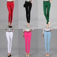Plus Size new fashion mid waist women Feet pants slim pencil pants candy color woman casual pants trousers leggings free ship
