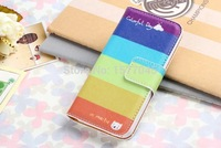Colorful Printing Leather Wallet Phone Case For iPhone 5 Many Styles Available