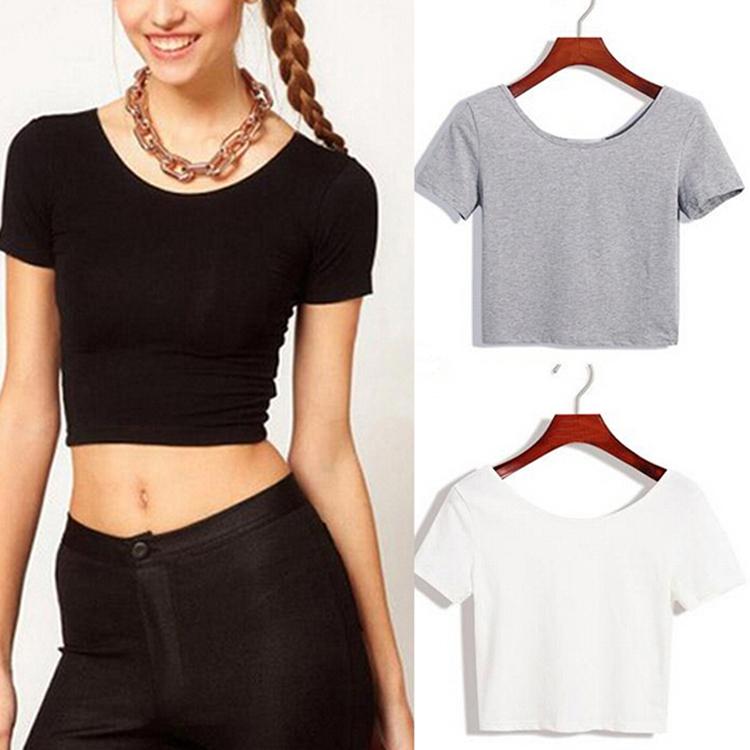 2015 New Women Best Sell U neck Sexy Navel baring Crop Top Short Sleeve T Shirt
