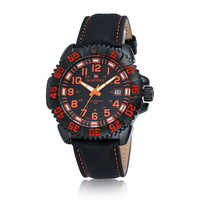 Newest Original NAVIFORCE Navy Style Watch Leather Strap Watch Luminous Analog Watch Thread Dial Watch
