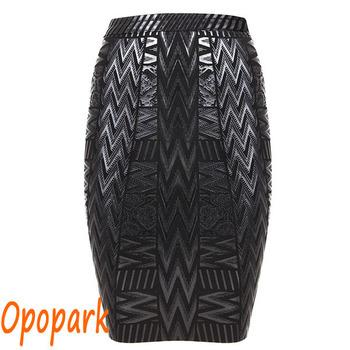 Эластичный женский черный бинты юбка женщины сексуальная элегантный геометрический ...