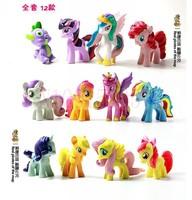 For 2 sets TRY ME!!!!! 12 pcs/set cute little Horses  Action Toy Figures unicorn pvc  doll cartoon figures toys for kids