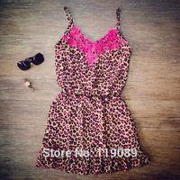 2015 New Arrival Women Sexy Leopard Print Lace Crochet Mini Beach Dresses Strap Vestidos Bodycon Shirt Club Fashion Renda HBQ112