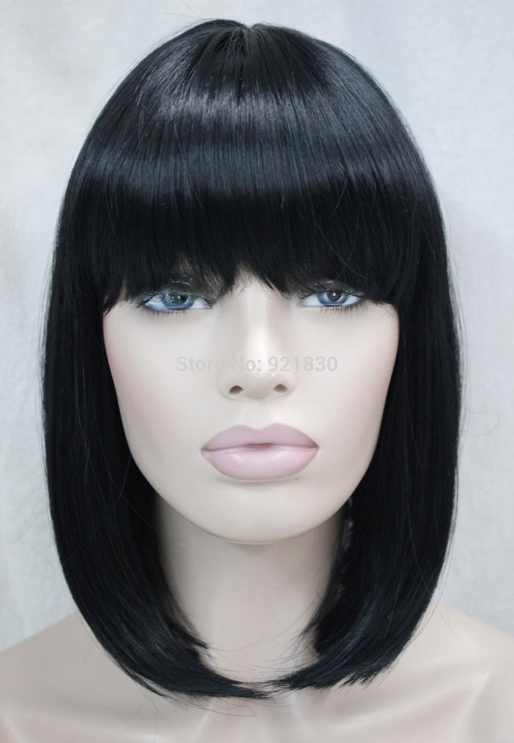 Latest BOB Black Short Straight bangs Women Female Lady Hair Wig Women ...