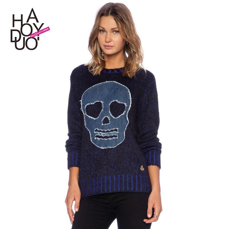 HYD 2015 Fashion New Big SKULL new winter wind Cowboy grinding hole skeleton cloth knitting a sweater(China (Mainland))