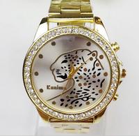 Hot Sale 2015 Fashion Rhinestones Leopard Top Brand Wristwatches High Luxury Watches women Quarz Watch Free shipping