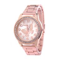 Hot Sale 2015 Fashion Big Discount Rhinestones Butterfly Top Brand Wristwatches High Luxury Watches women Quarz Watch
