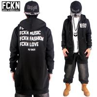 Brand Hip Hop Hoodies Mens Cardigans Hood Zipper Coat 2015 New Lengthen Fashion Outerwear Overcoat Sweatshirt black FCKN 8 HBA