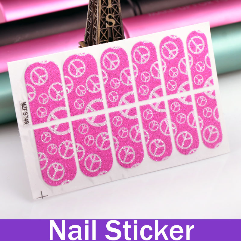 1Sheet Anti-War Symbol Glitter Patch Nail Foil Sticker Fingernail Decals Nails Products(China (Mainland))