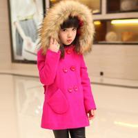 Kids girls woolen coat , 2015 winter big virgin long section thick coat , fur collar wool coat for girls
